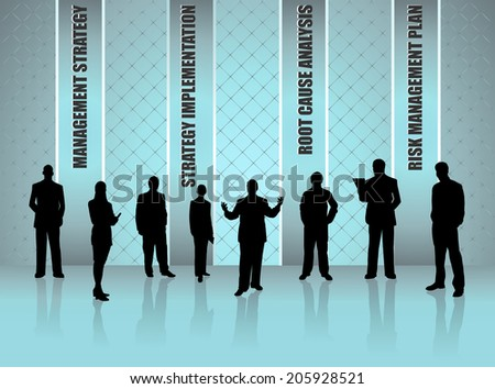 silhouettes of business people with leadership concept- vector eps10 - stock vector
