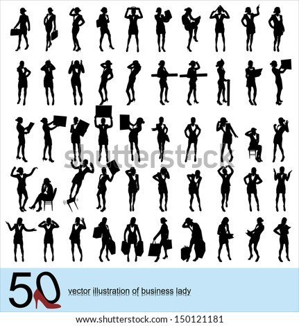 silhouettes of business women - stock vector