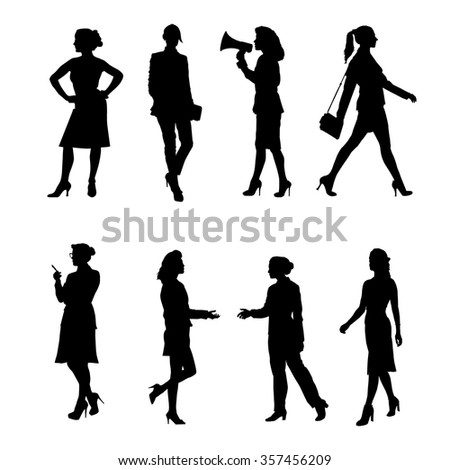 Silhouettes of Business Women. Vector set - stock vector