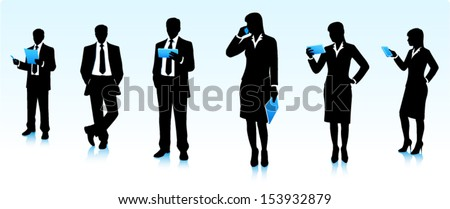 Silhouettes of businessmen  - stock vector
