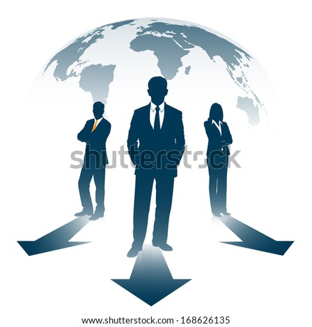 silhouettes of businesspeople on the background of the planet before the index - stock vector