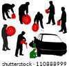 Silhouettes of car mechanics. Change the wheels, a mechanic with the battery canister, a wheel, a gasoline generator. - stock vector