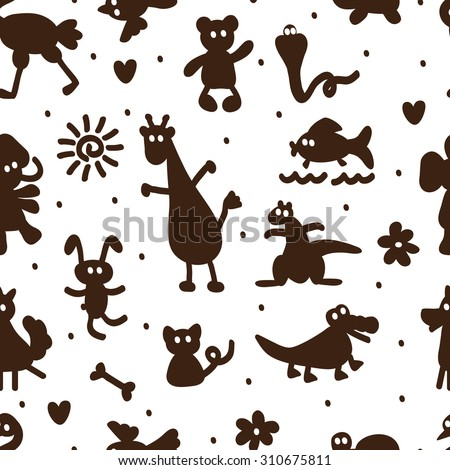 Silhouettes of cartoon funny animals. Vector Seamless Pattern of different animals. - stock vector