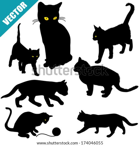 Silhouettes of cats on white background, vector illustration