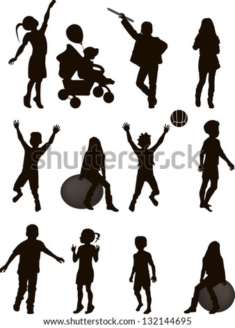 Silhouettes of children in vector format isolated on white background - stock vector