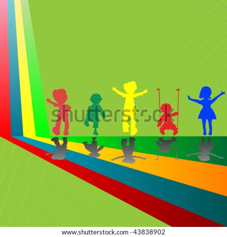 silhouettes of children playing, abstract art illustration - stock vector