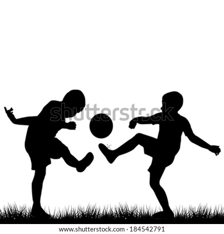 Silhouettes of children playing football - stock vector