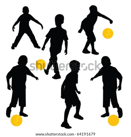 silhouettes of children playing football with golden soccer ball - stock vector