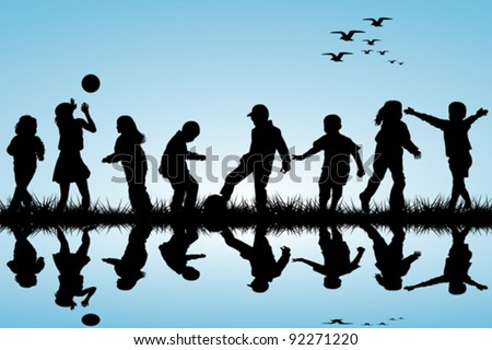 Silhouettes of children playing near a water - stock vector