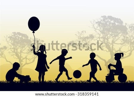 Silhouettes of children playing outside in the grass and trees - stock vector
