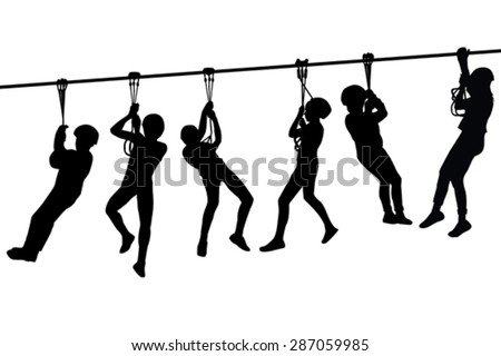 Silhouettes of children playing with a tyrolean traverse - stock vector