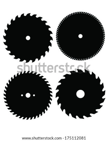 circular saw blade vector. silhouettes of circular saw blades, vector illustration blade