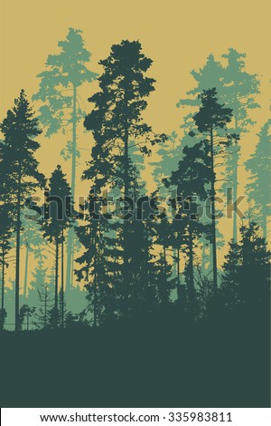 Silhouettes of coniferous forest. detailed vector illustration - stock vector