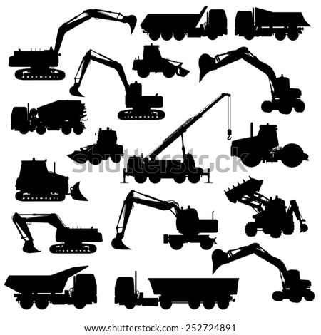 Silhouettes of construction machines. Bulldozer, excavator, roller, truck, loader, tractor. Vector illustration - stock vector
