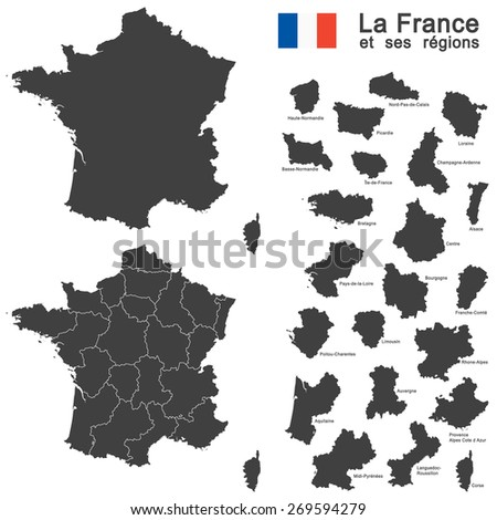 silhouettes of country France and the regions - stock vector