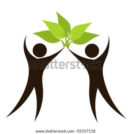 Silhouettes of couple with green leaves. Eco vector illustration - stock vector