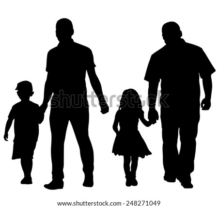 silhouettes of dads with kids - stock vector