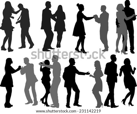 silhouettes of dancers - stock vector