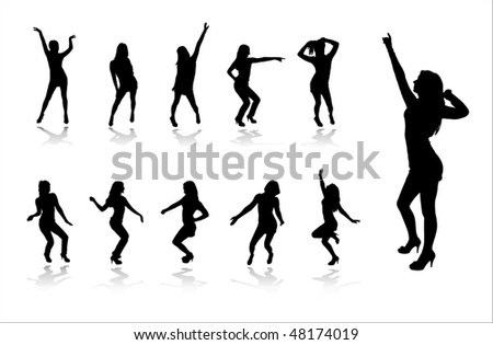 Silhouettes of dancing girls in a nightclub - stock vector