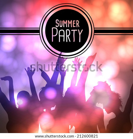 Silhouettes of Dancing People at Summer Party - Vector Illustration - stock vector