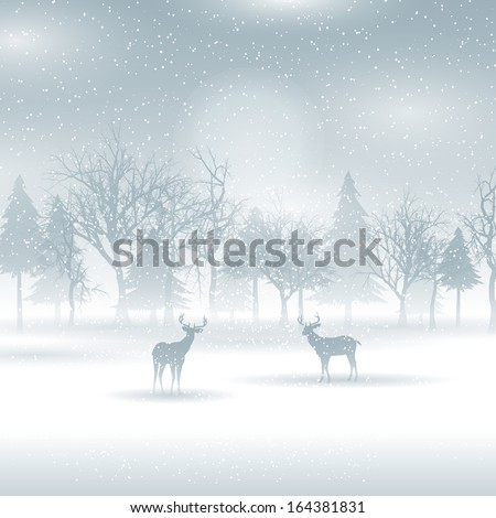 Silhouettes of deer in a winter landscape - stock vector