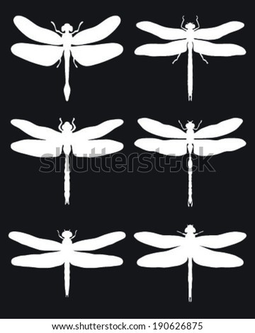 Silhouettes of dragonflies, vector - stock vector