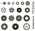 Silhouettes of eighteen different cog wheels / pinions, gear set. - stock vector