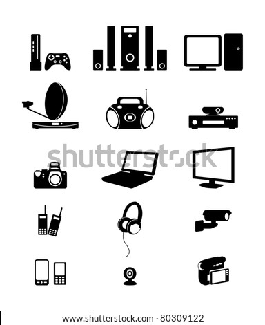 Silhouettes of electronic - stock vector