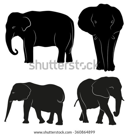 silhouettes of elephants  - stock vector