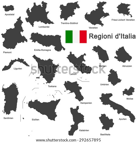 silhouettes of european country Italy and the regions