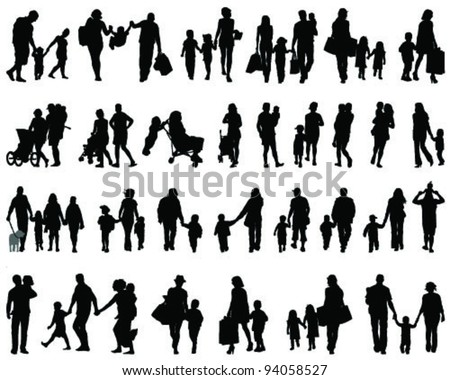 Silhouettes Families Walkingvector Stock Vector (Royalty ...