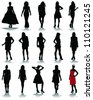 Silhouettes of fashion 2-vector - stock photo
