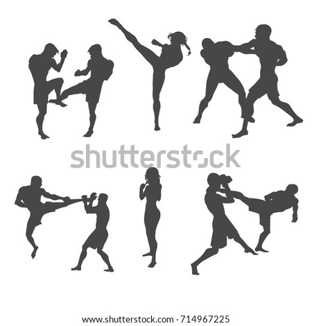 Silhouettes of fighting people