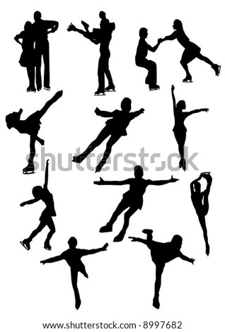 Silhouettes of figure skaters - stock vector
