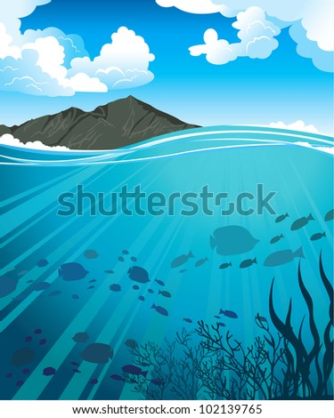 Silhouettes of fish and sun rays in a blue sea and mountains - stock vector