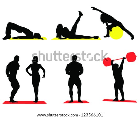 Silhouettes of fitness and bodybuilding-vector - stock vector