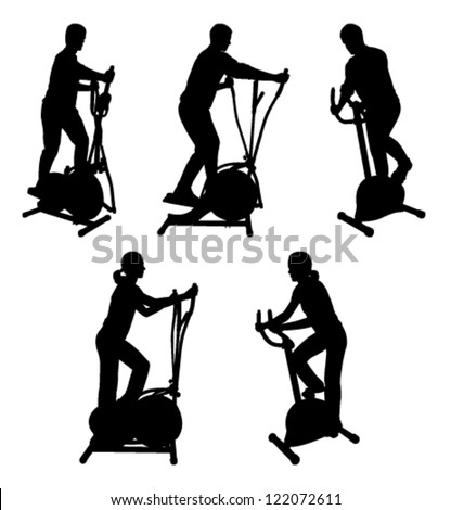silhouettes of fitness people on gym bike - stock vector