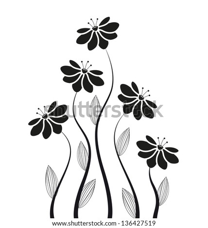 silhouettes of flowers on a white background - stock vector