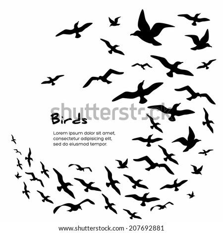Silhouettes of flying birds, vector illustration.  - stock vector