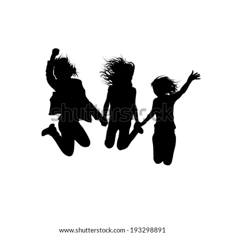 silhouettes of friend people jumping. Childhood. Vector - stock vector