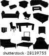 Silhouettes of furniture - stock vector