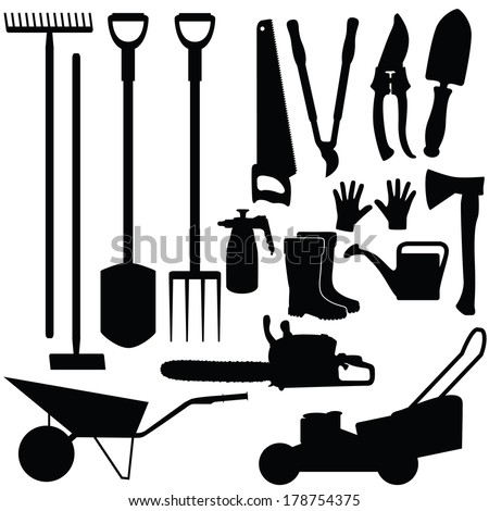 Silhouettes of gardening tools, vector illustration - stock vector