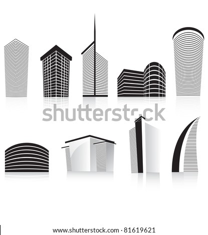 silhouettes of generic modern city office skyscrapers and headquarters buildings - stock vector