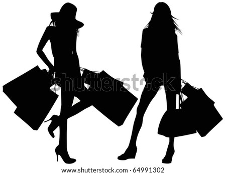Silhouettes of girls with bags - stock vector
