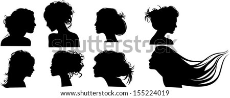 Silhouettes of girls with hairstyles, vector - stock vector