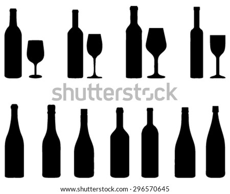 Silhouettes of glasses and bottles, vector - stock vector