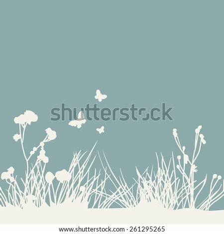 silhouettes of grass and butterflies