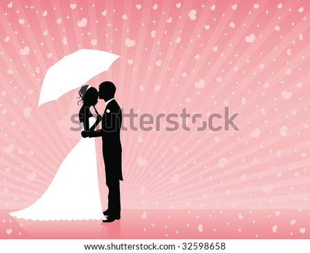 Silhouettes of groom and bride standing and hugging on the pink background. Groom holding an umbrella. Raining hearts. - stock vector