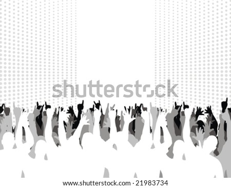 silhouettes of group of people having fun - stock vector