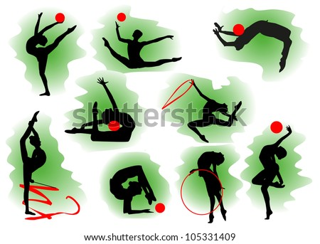 Silhouettes of gymnasts with various sports subjects. - stock vector